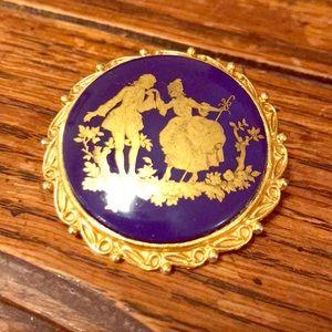 Antique cobalt - gold painted glass brooch